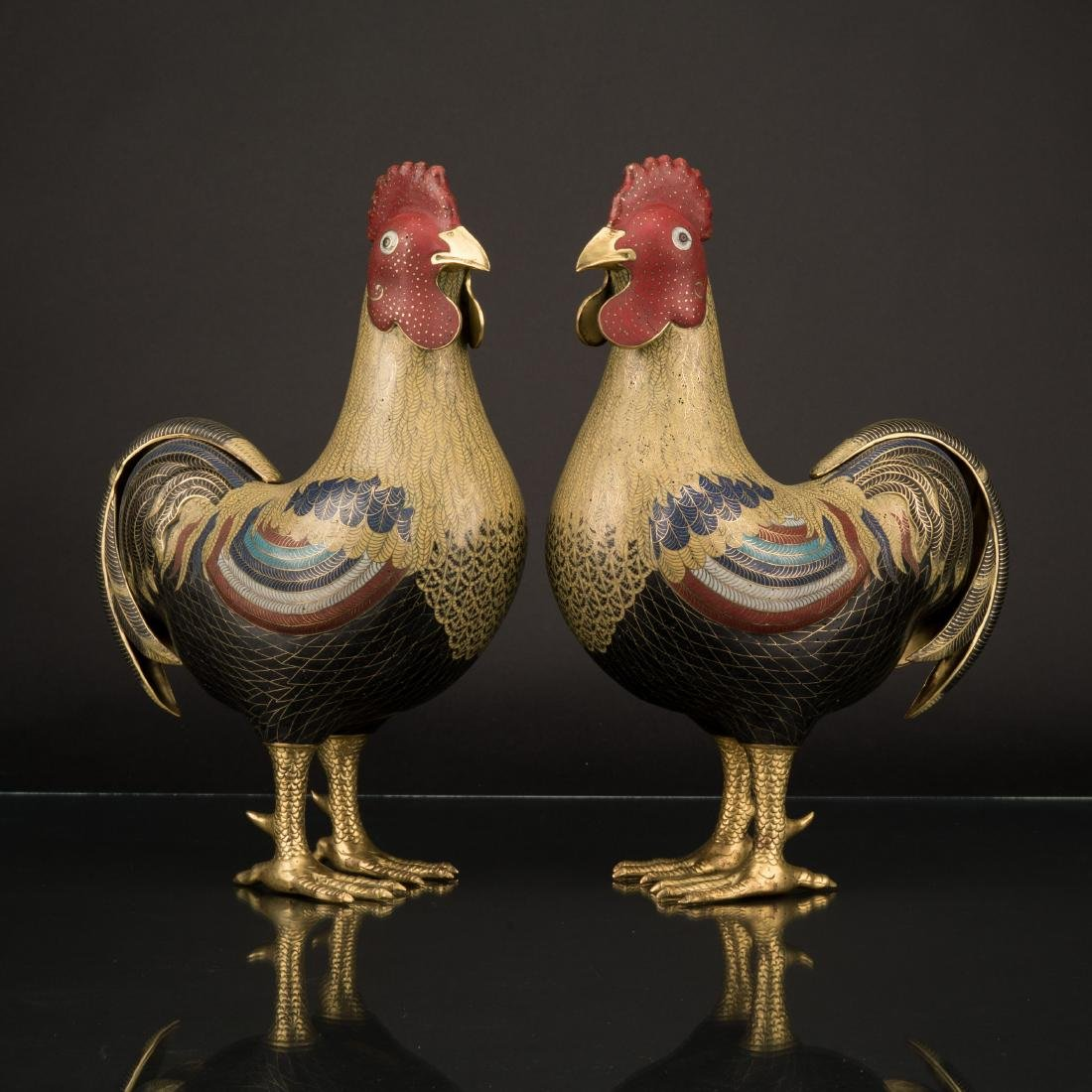 PAIR OF QING GILT BRONZE CLOISONNE ROOSTERS