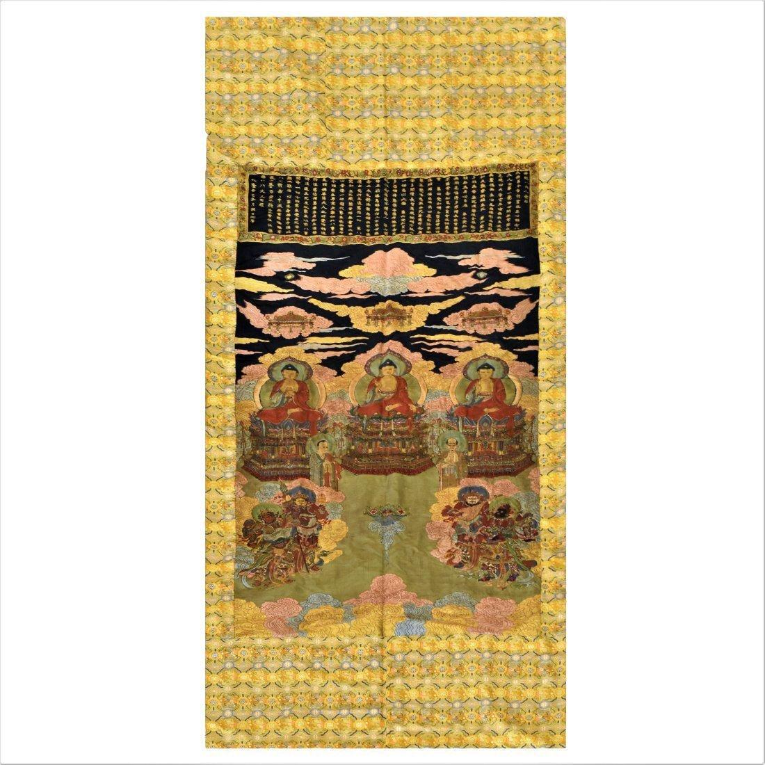 17/18TH C LARGE QING WOVEN SILK BUDDHA & GUARDIAN KINGS
