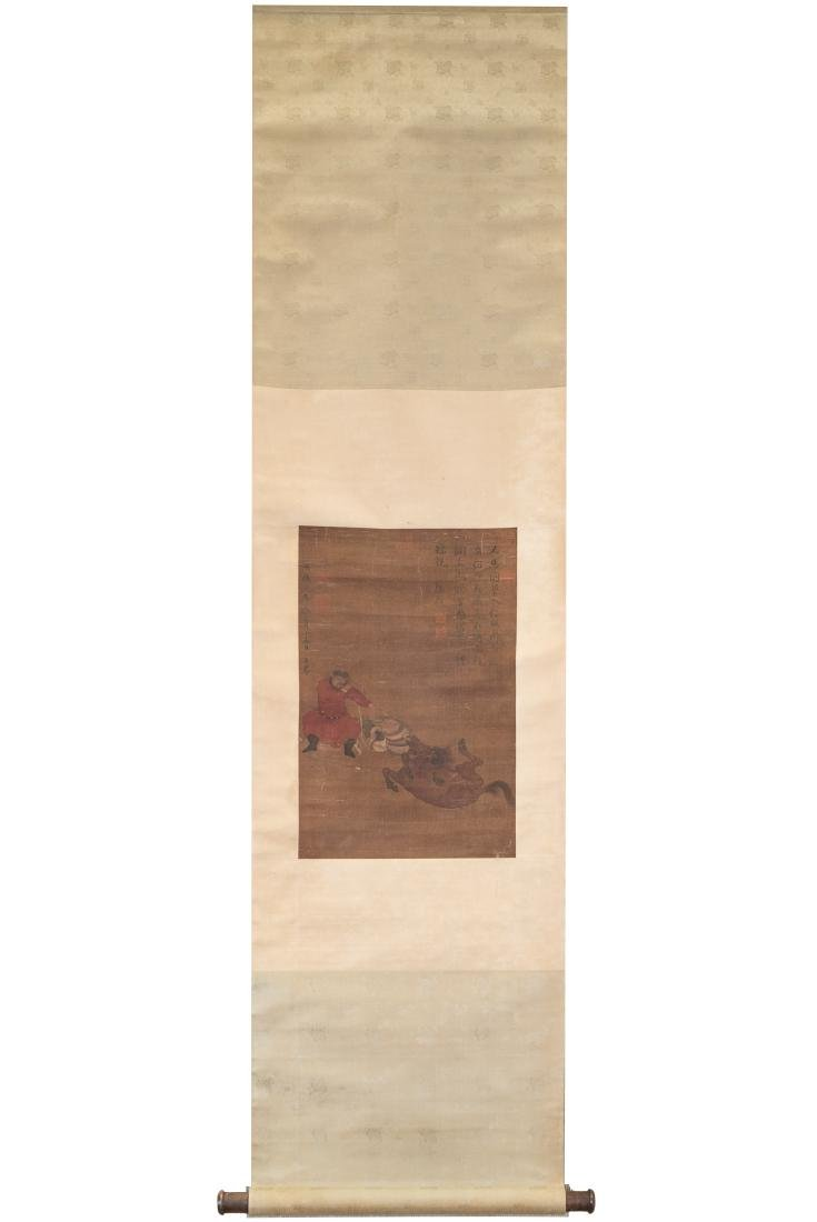 QING CHINESE SILK PAINTING SCROLL OF MAN & HORSE