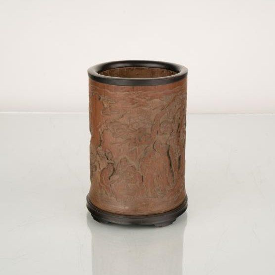 QING CARVED BAMBOO BRUSH HOLDER