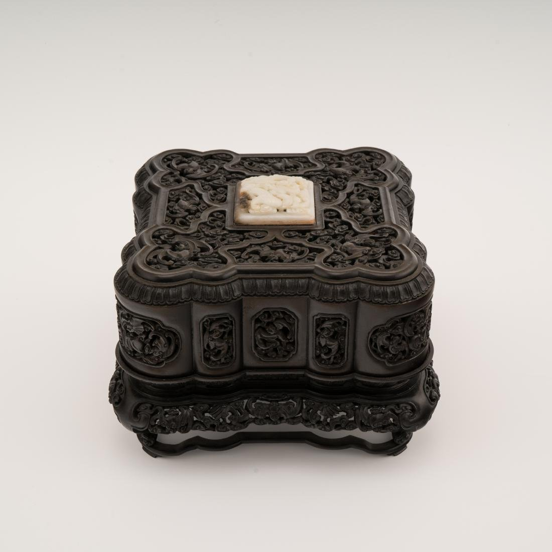 QING HEAVILY CARVED ZITAN BOX WITH MUTTONFAT JADE