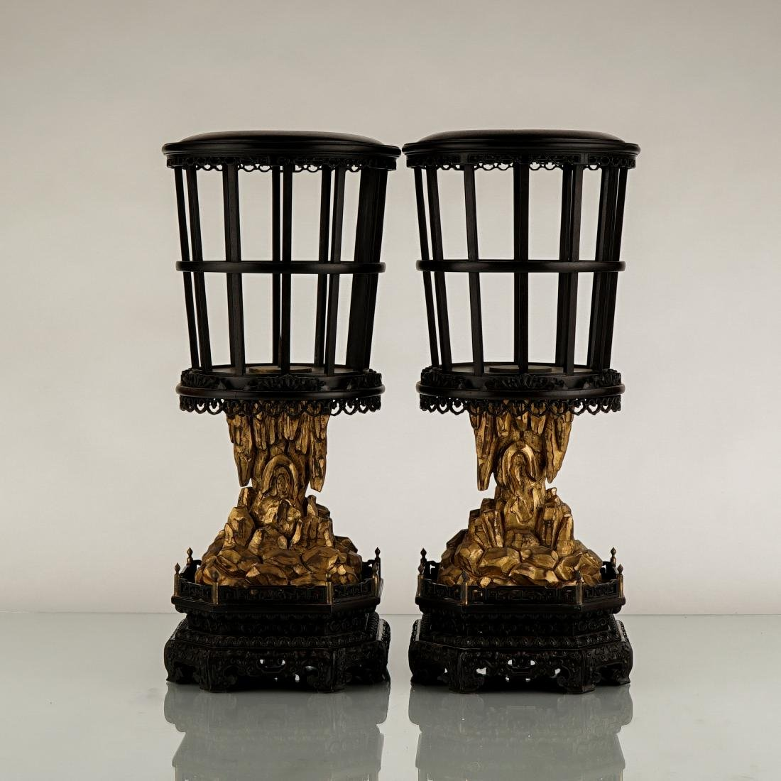 PAIR OF ZITAN CANDLE STANDS