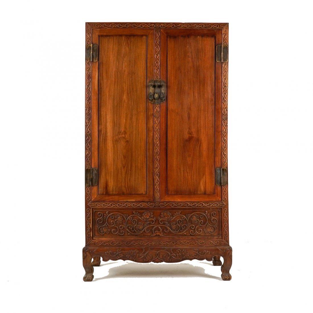19TH C HUANGHUALI DOUBLE DOOR ARMOIRE