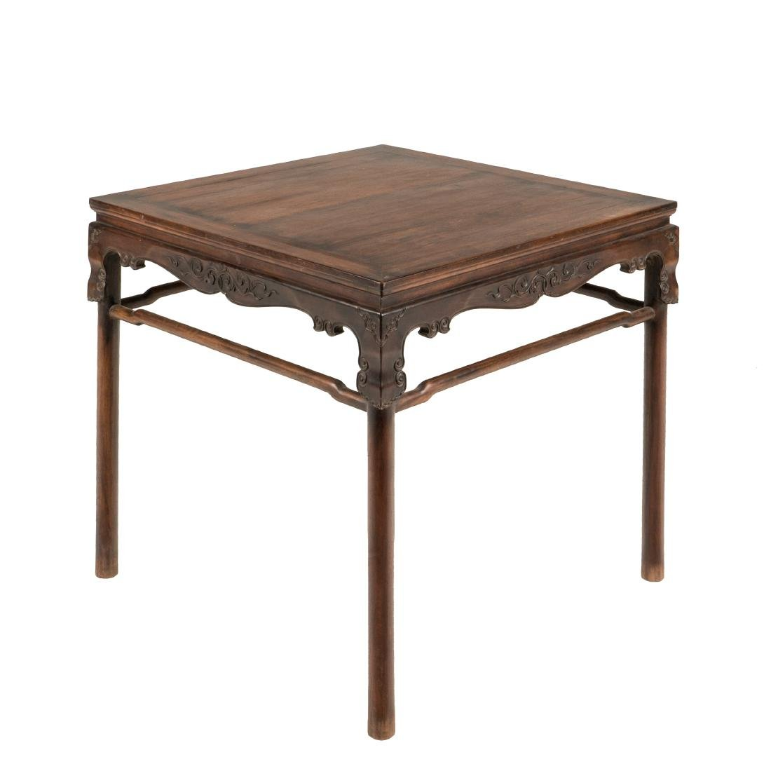 18TH C HUANGHUALI WAISTED SQUARE GAME TABLE
