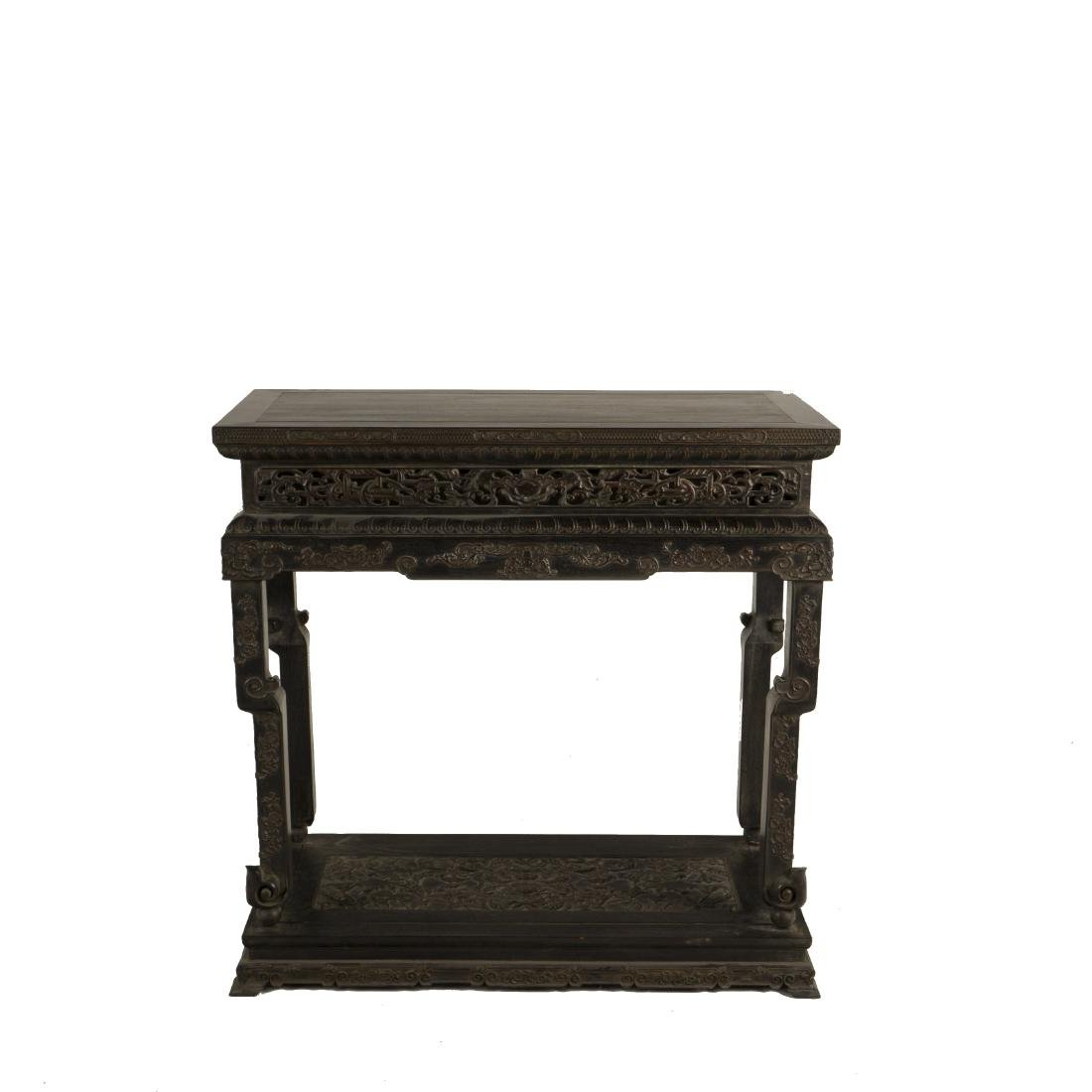 18/19TH C CARVED ZITAN SIDE TABLE IN ROCOCO MOTIF
