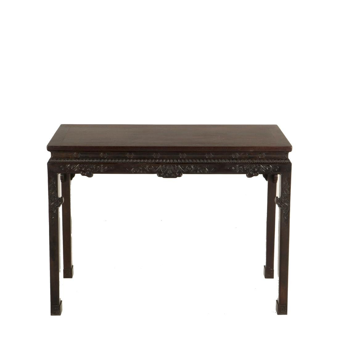 19TH C CHINESE  ZITAN CARVED DEMOUNT-ABLE SCHOLAR TABLE