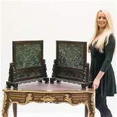 PAIR OF LARGE GREEN JADE DRAGON TABLE SCREENS