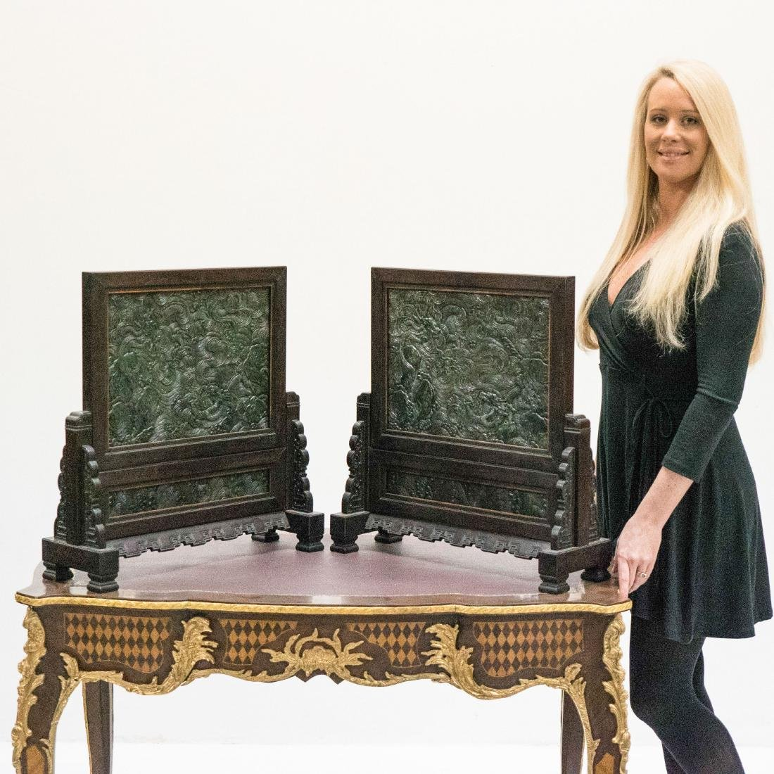 PAIR OF LARGE GREEN JADE DRAGON TABLE SCREENS
