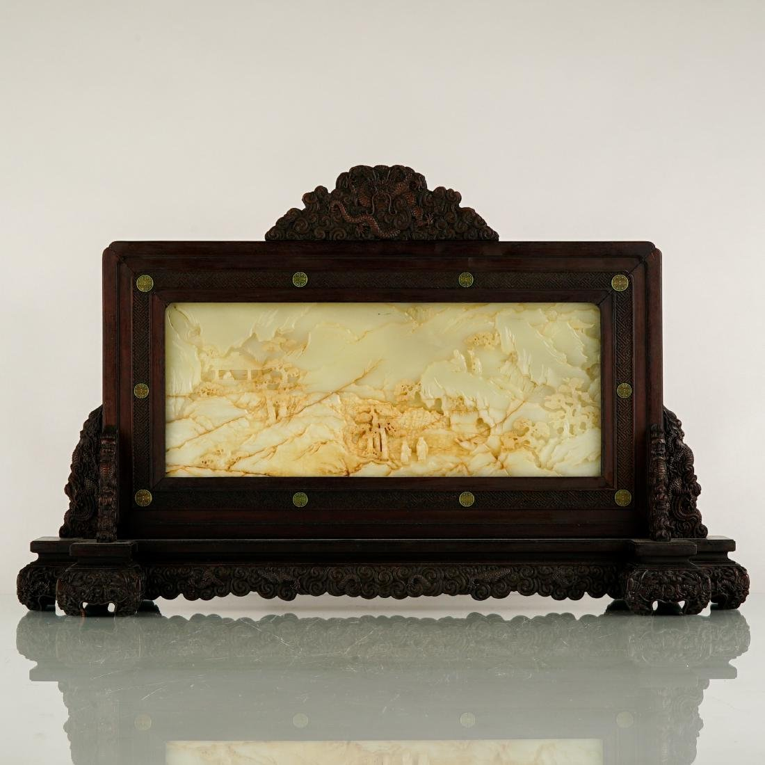 FRAMED CHINESE JADE TABLE SCREEN