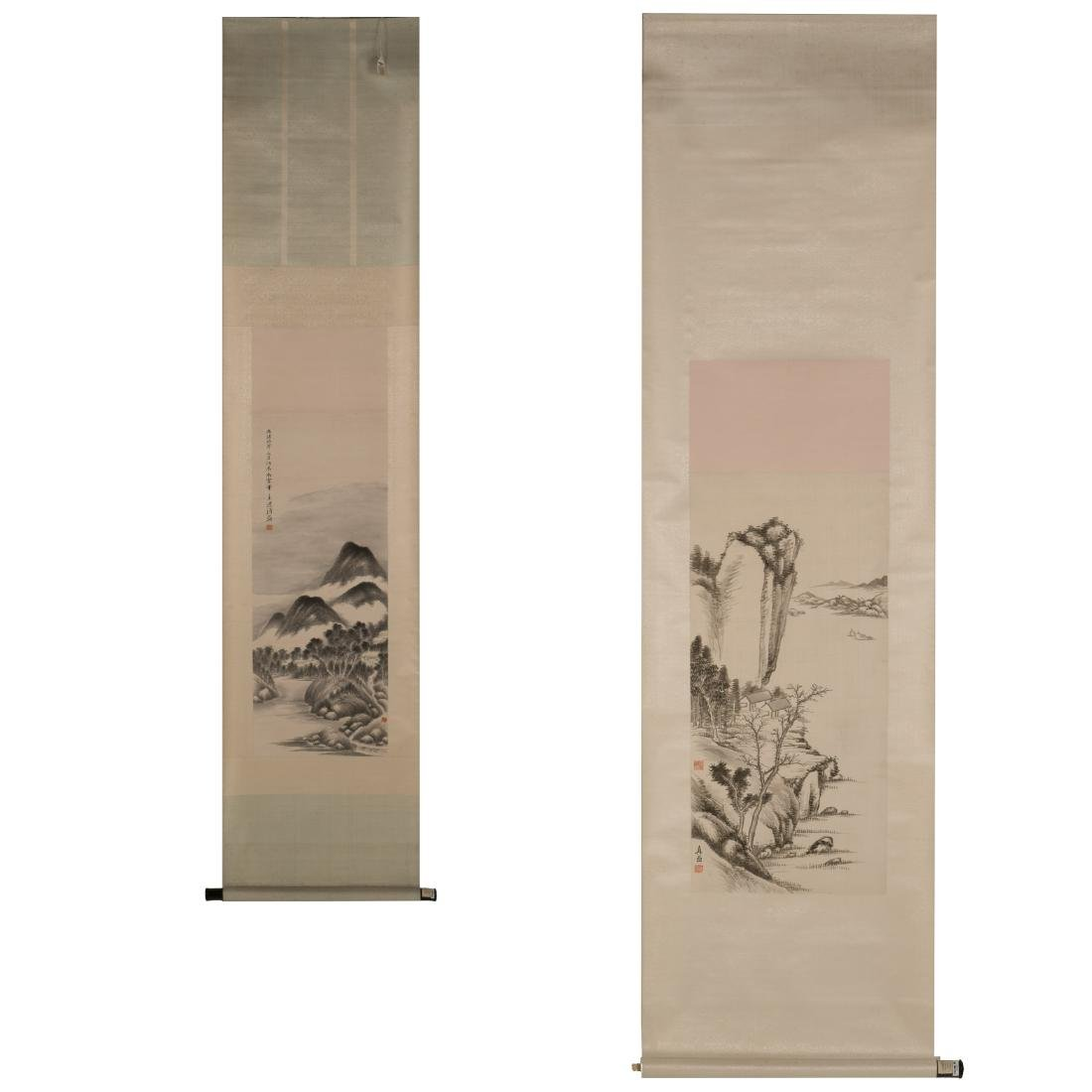 SET OF 2 QING DYNASTY SCROLL PAINTINGS, CA. 1903