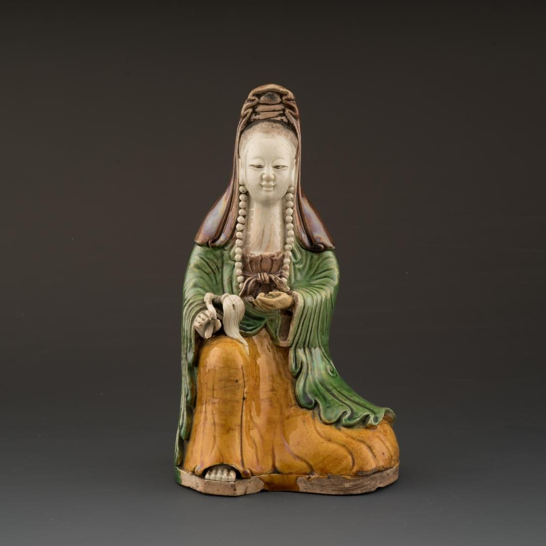 QING CHINESE POLYCHROMED FIGURE OF GUANYIN