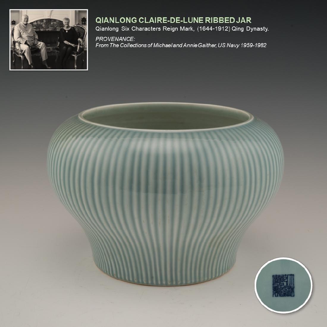 QIANLONG CLAIRE-DE-LUNE RIBBED JAR