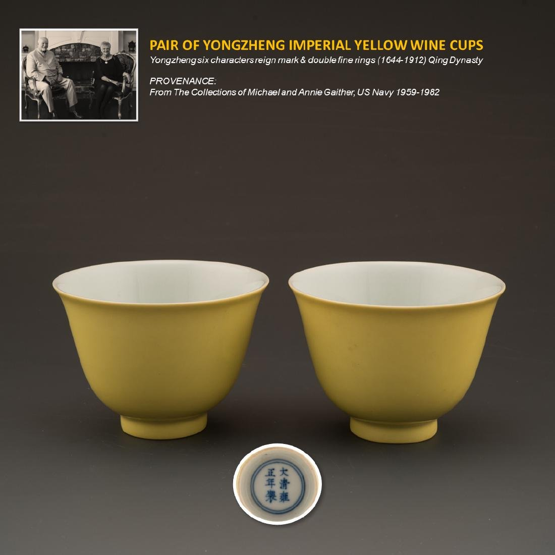 PAIR OF YONGZHENG IMPERIAL YELLOW WINE CUPS