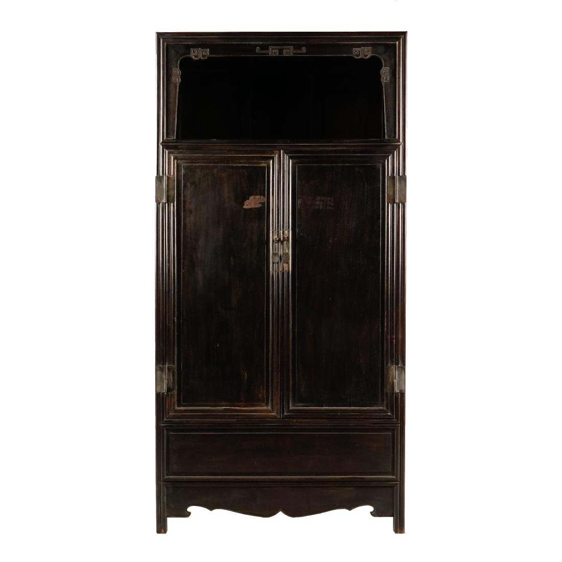 19TH C ANTIQUE CHINESE BRASS-MOUNTED ZITAN CABINET