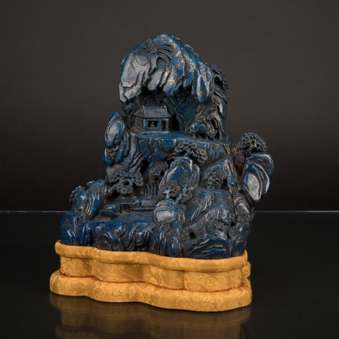 QING CARVED LAPIS SCHOLARS ROCK ON STAND