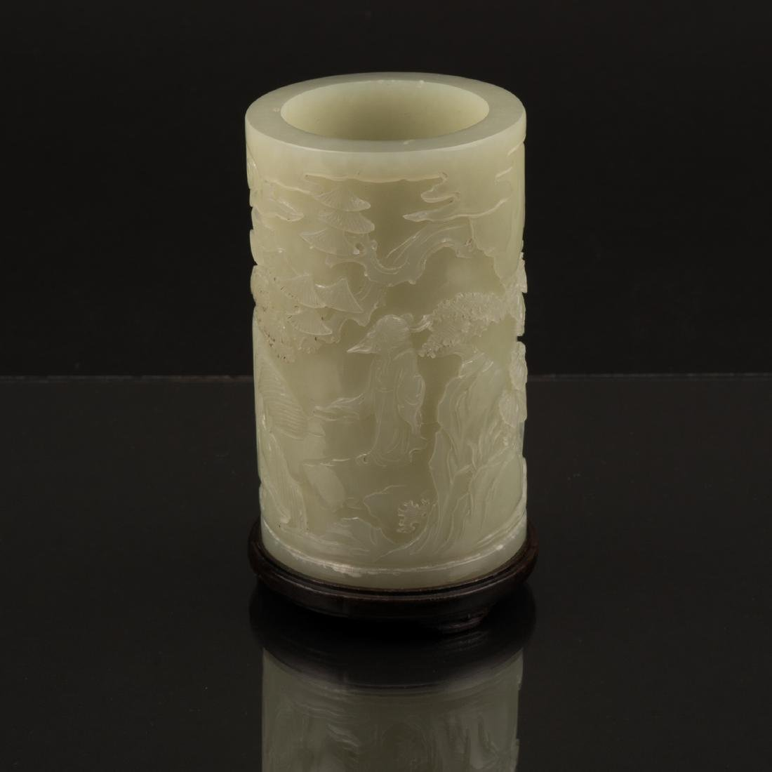 WHITE JADE CARVED CYLINDRICAL BRUSH POT ON STAND