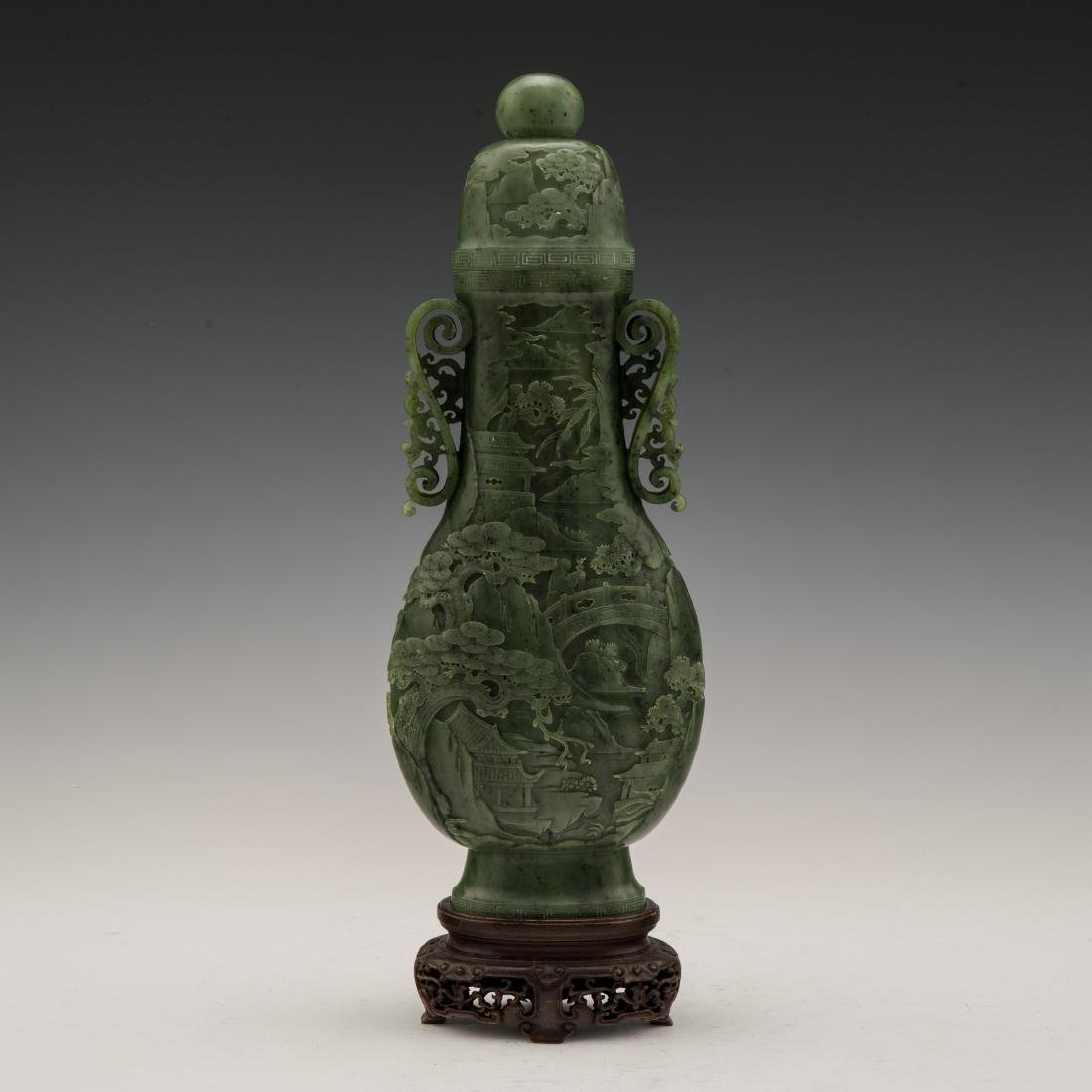 QING JADE VASE JADE VASE WITH MATCHING COVER
