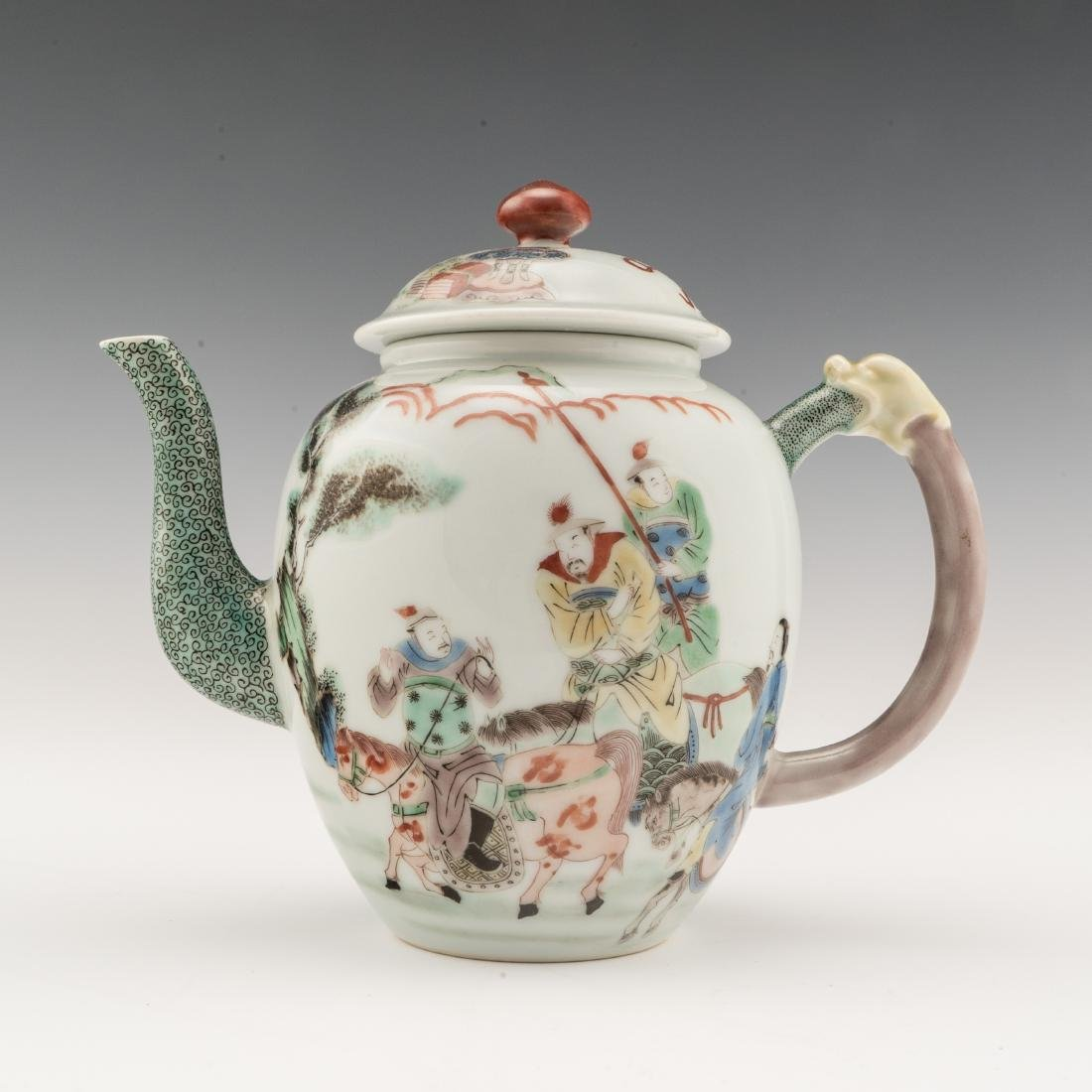 FAMILLE ROSE OPEN FACE IMMORTAL MOTIF PORCELAIN TEAPOT
