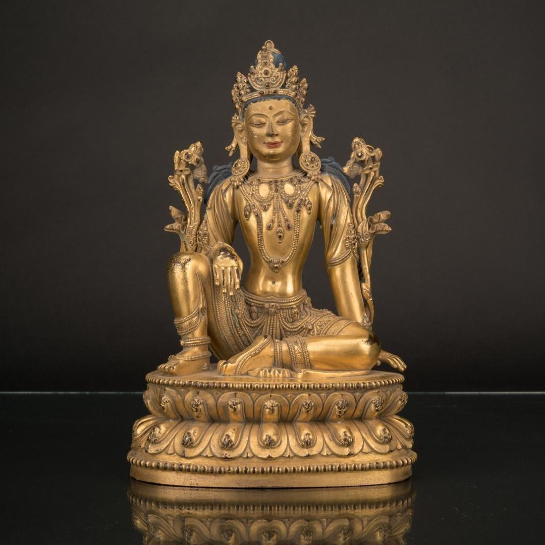 MING YONGLE GILT BRONZE BUDDHA SIMHANADA