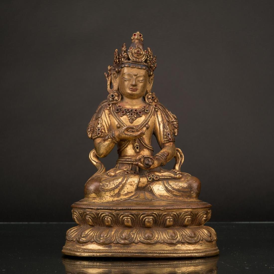 QING GILT BRONZE SEATED VAJRAVIDARANA BUDDHA