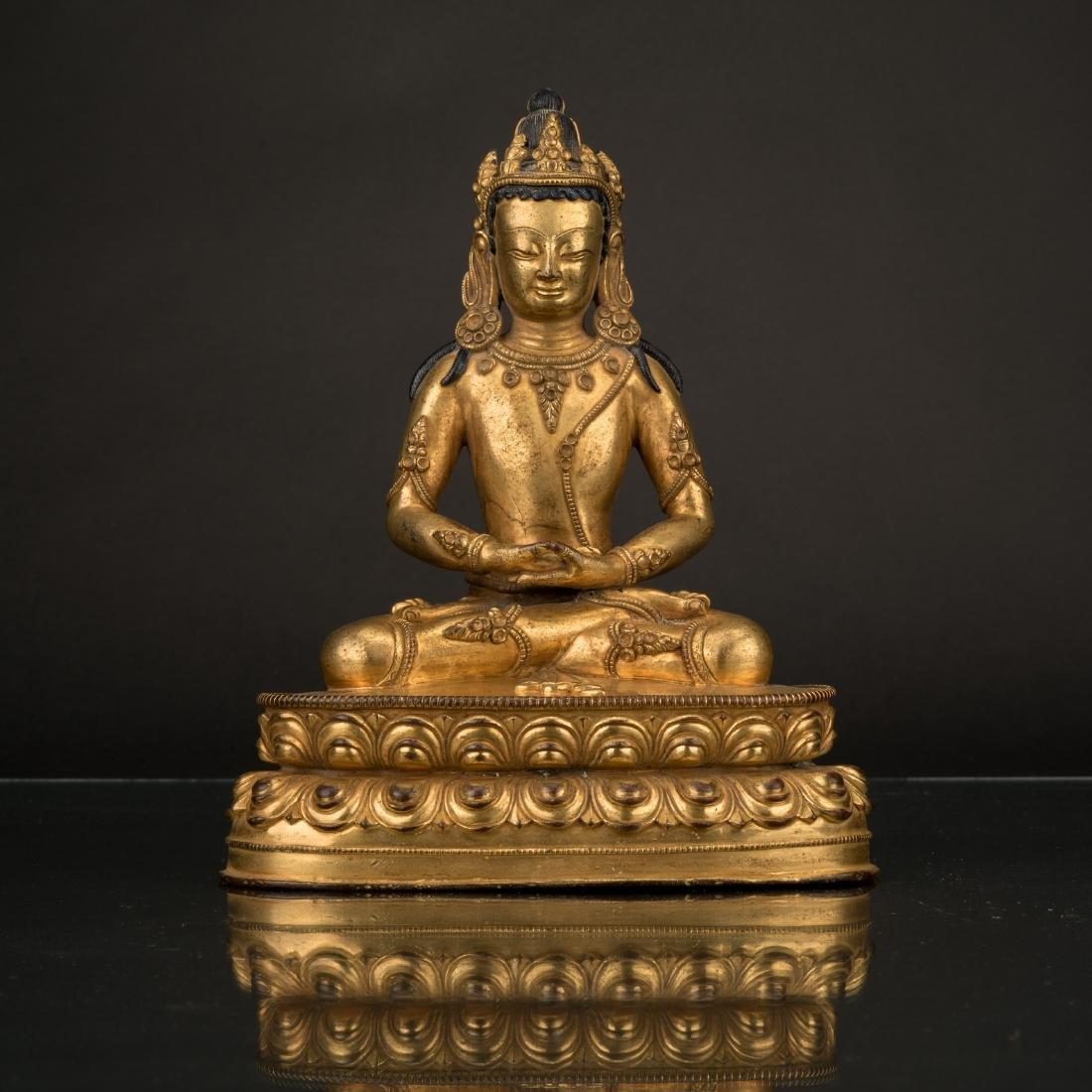 QING GILT BRONZE MEDITATE MANJUSHREE BUDDHA