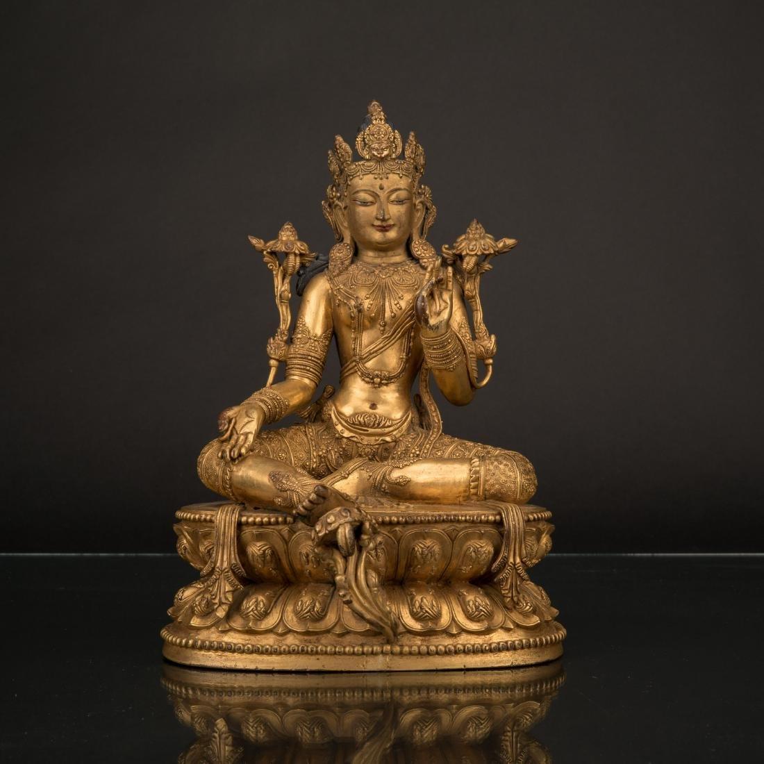 MING YONGLE GILT BRONZE BUDDHA OF GREEN TARA