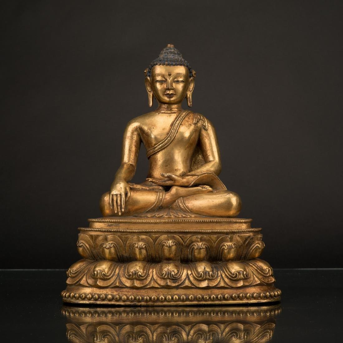 18TH C QING CHINESE GILT BRONZE SHAKYAMUNI BUDDHA