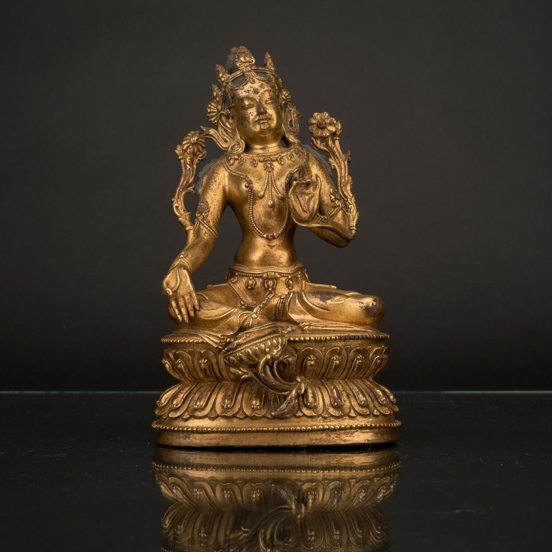 MING DYNASTY GILT BRONZE INLAID BUDDHA FIGURE OF TARA