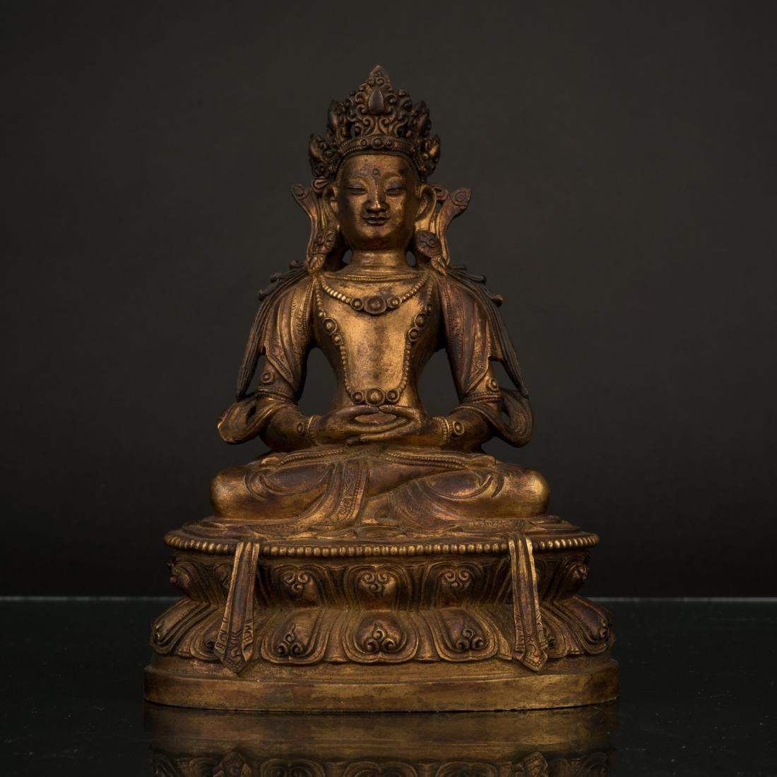 QING GILT BRONZE BUDDHA FIGURE OF AVALOKITESHVARA,