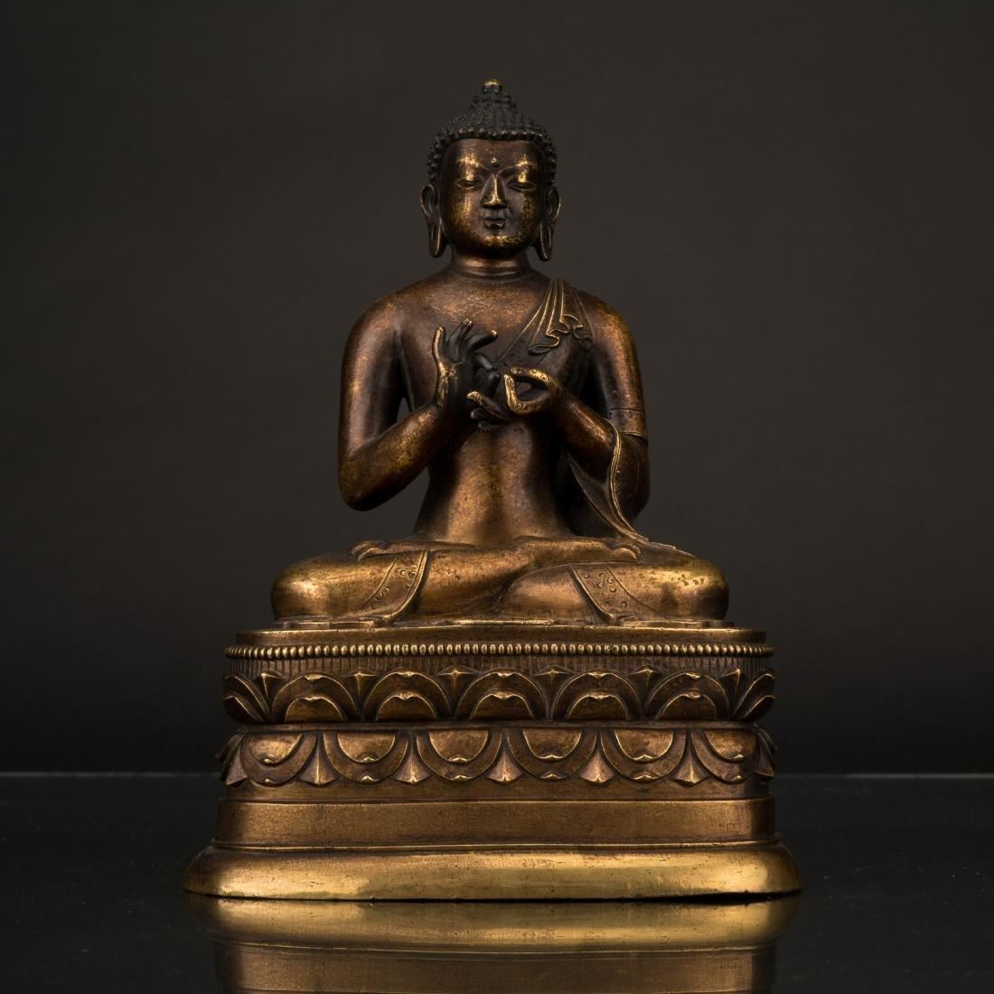 QING GILT BRONZE BUDDHA VAIROCHANA