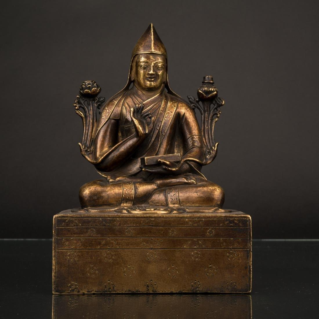 QING GILT BRONZE BUDDHA OF GENDUN DRUB, FIRST DALAI