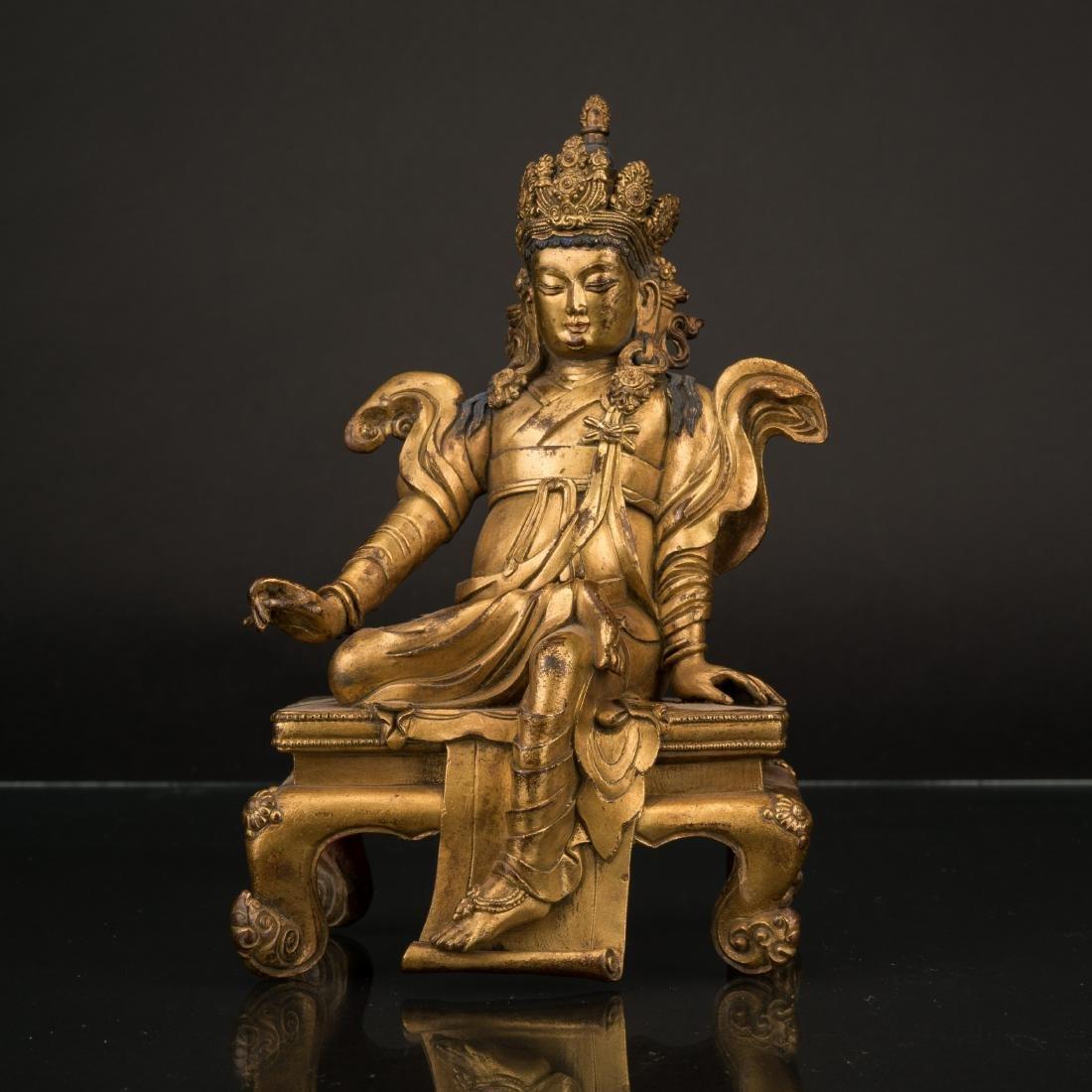 QING GILT BRONZE BUDDHA, KING SONGTSEN GAMPO