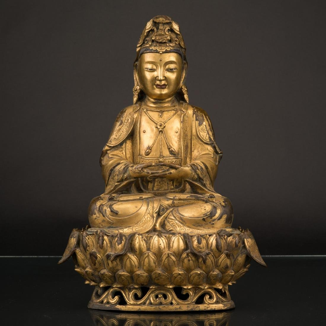 MING GILT BRONZE SEATED GUANYIN