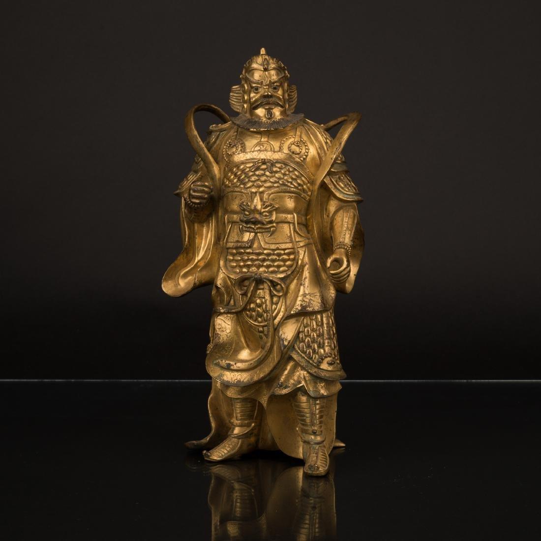 QING GILT BRONZE BUDDHA STANDING VAISHRAVANA