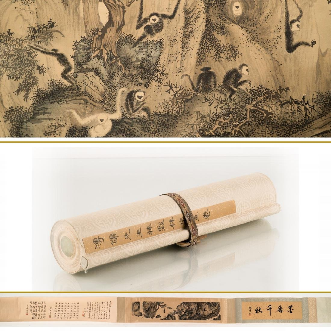 CHINESE MONKEYS PAINTING LONG HAND SCROLL