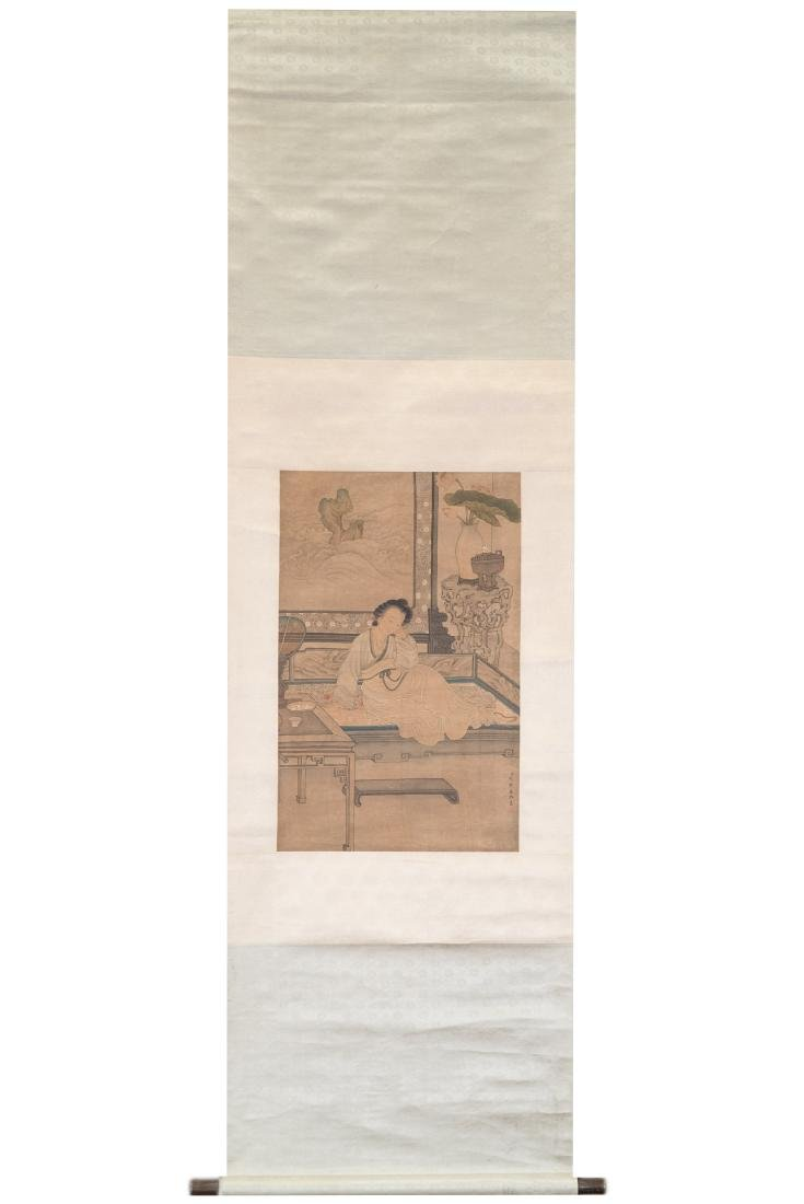 QING CHINESE SILK PAINTING SCROLL OF LADY