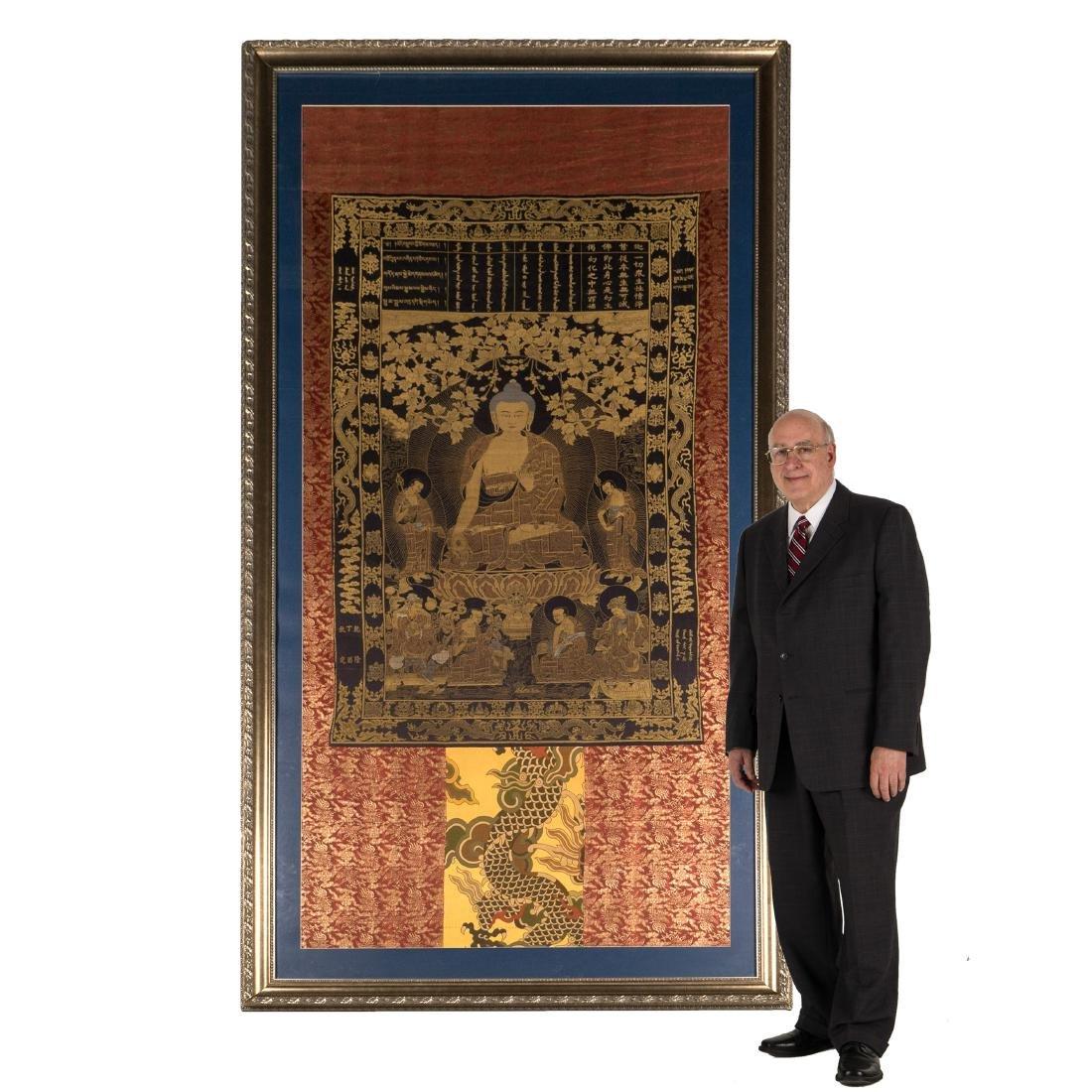 18TH C  FRAMED LARGE QING WOVEN BUDDHA SILK THANGKA