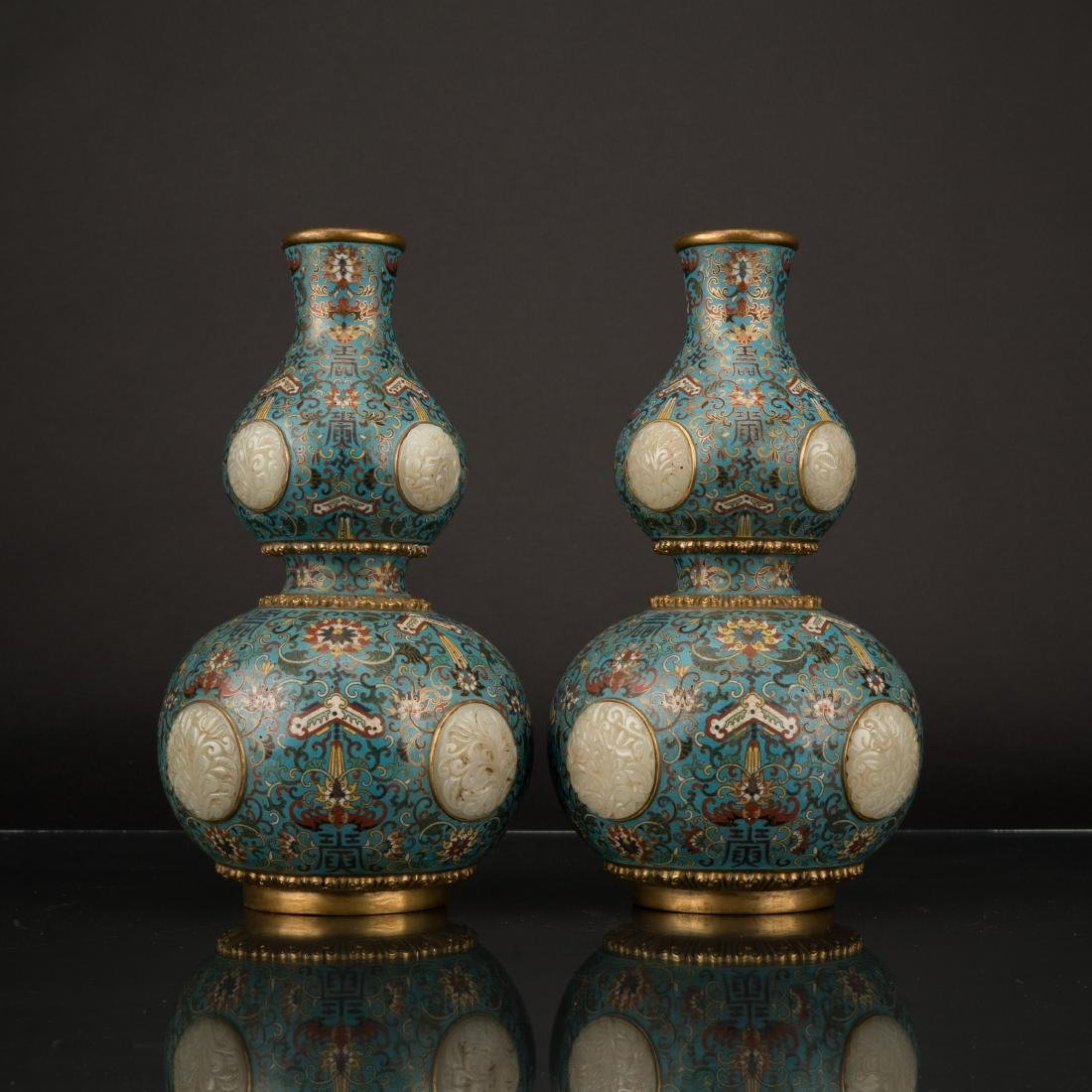 PAIR OF QING GILT BRONZE CLOISONNE JADE INLAID GOURD