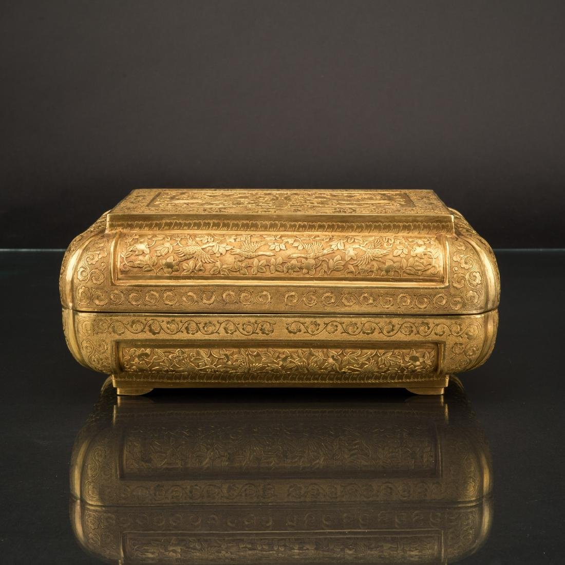 DAOGUANG GILT BRONZE REPOUSSE COVERED GIFT CASKET