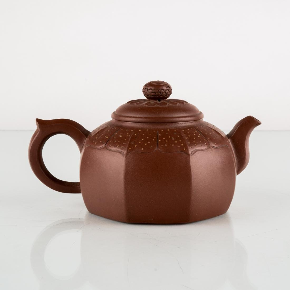 CHINESE HEXAGONAL ZISHA (YIXING) TEAPOT