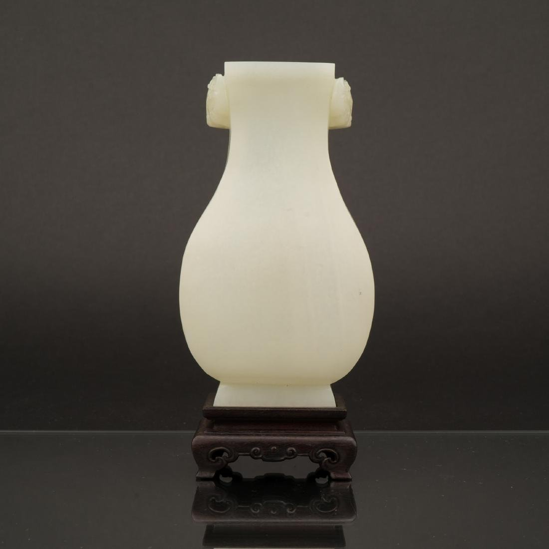 CHINESE WHITE JADE VASE ON STAND