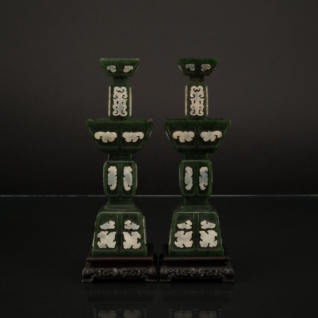 PAIR SPINACH GREEN & WHITE JADE GU VASES