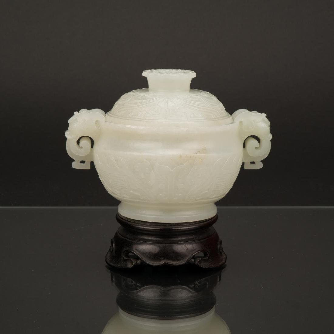 CHINESE WHITE JADE COVERED CENSER IN ARCHAIC MOTIF