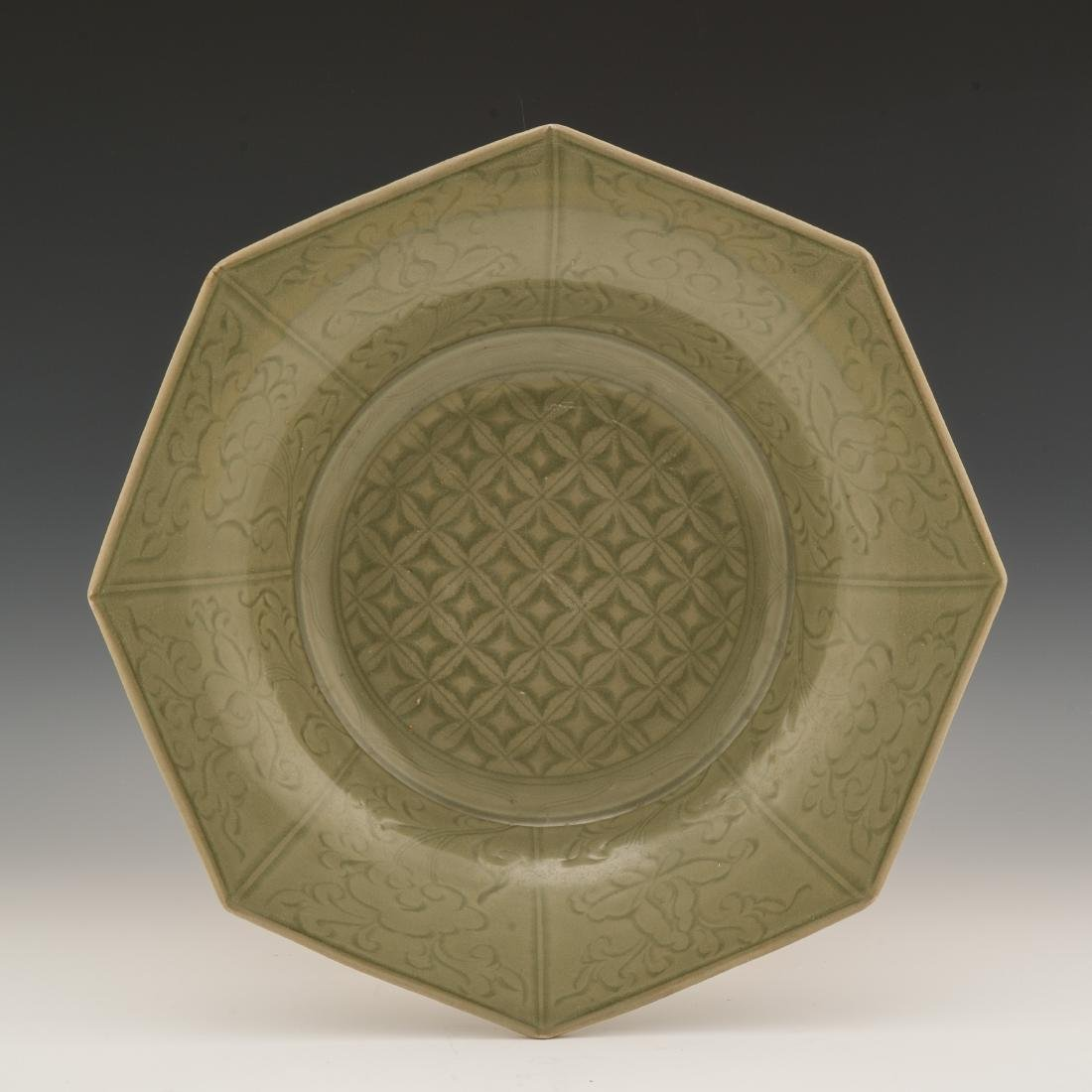 LARGE CARVED LONGQUAN CELADON CHARGER