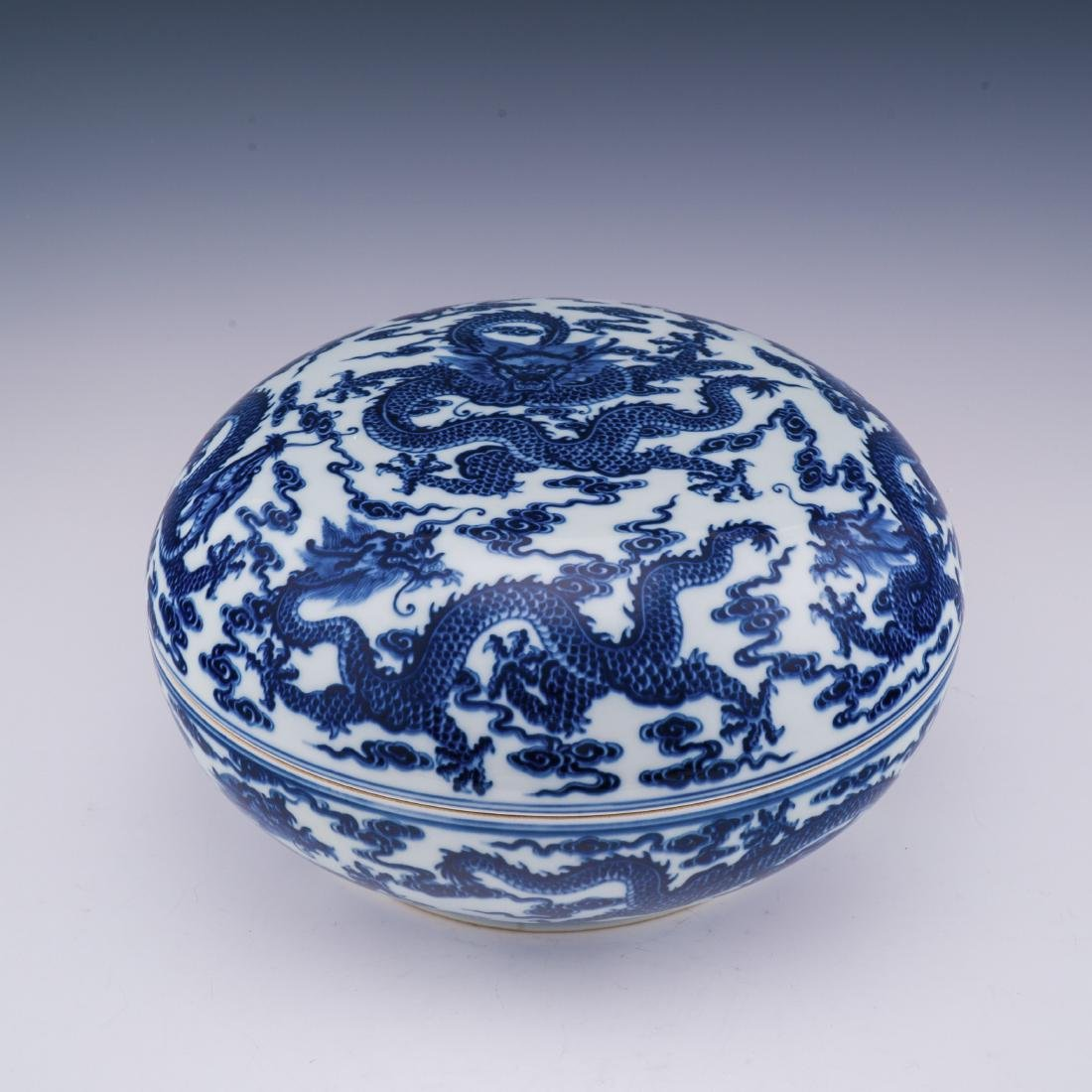 QIANLONG BLUE & WHITE DRAGON GIFT BOX