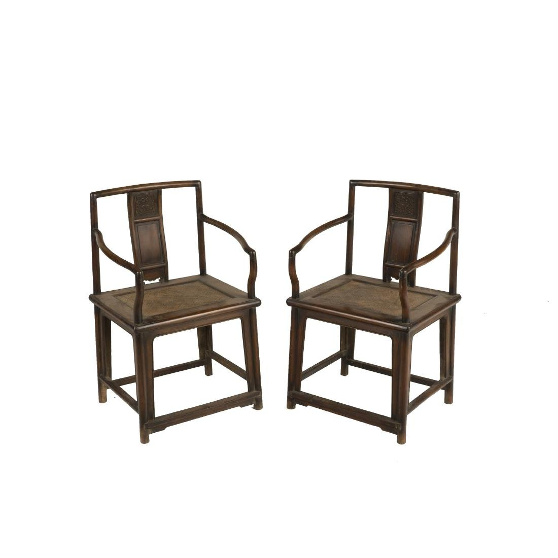 PAIR OF 18TH C HUANGHUALI ROSE ARMCHAIRS (MEIGUI YI)