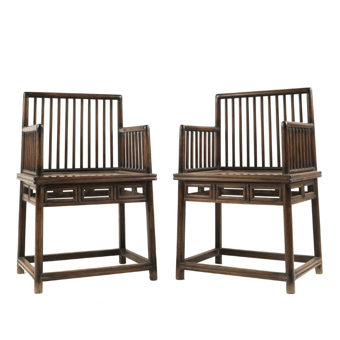 PAIR OF 18TH C CHINESE HUANGHUALI WAISTED ARMCHAIRS