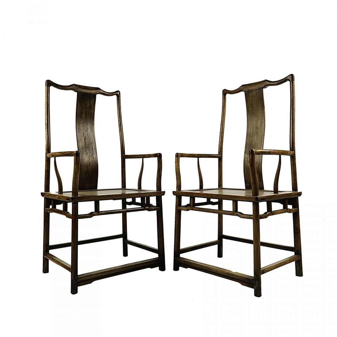PAIR OF HUANGHUALI SOUTHERN OFFICIALS HAT ARMCHAIRS