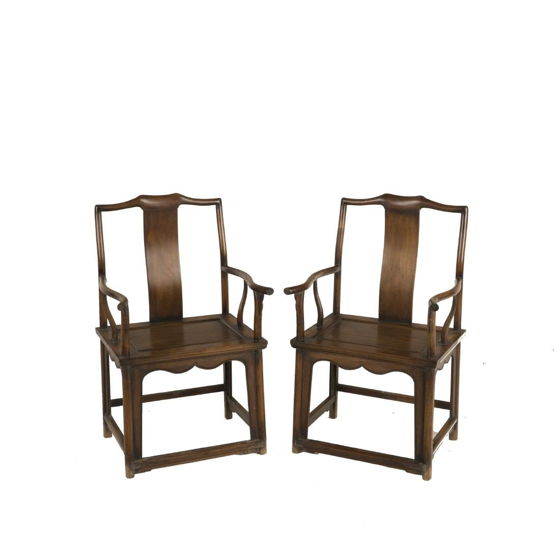 18/19TH C  PAIR OF HUANGHUALI ARM CHAIRS