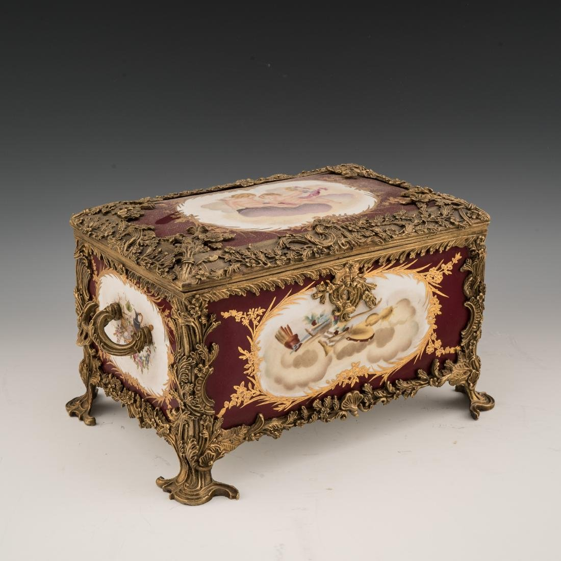 A SEVRES-STYLE PORCELAIN AND BRONZE TABLE CASKET